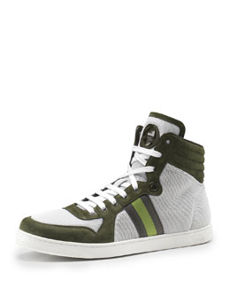 Gucci Nylon & Suede High-Top Sneaker, Olive