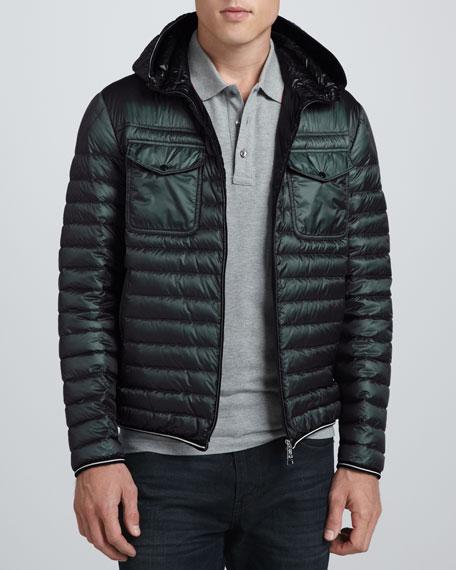 Lightweight Hooded Puffer Jacket, Olive