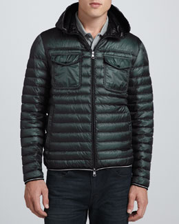Moncler Lightweight Hooded Puffer Jacket, Olive