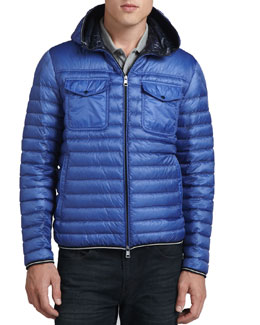 Moncler Hooded Puffer Jacket, Navy