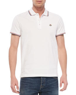 Moncler Tipped Logo Polo, White