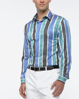 Versace Collection Snake-Print Striped Shirt, Multi