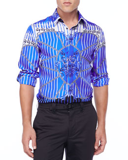 Versace Collection Baroque Print Long-Sleeve Shirt, Blue