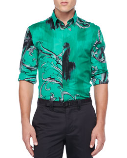 Versace Collection Baroque Print Long-Sleeve Shirt, Green