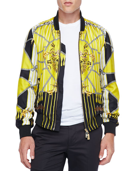 Versace Collection Baroque Lion Print Jacket, Yellow