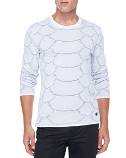 Versace Collection Python Perforated Tee, White