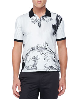 Versace Baroque Print Polo, Black/White