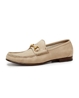 Gucci Roos 1953 Suede Horsebit Loafer, Tan