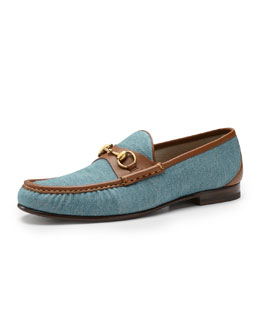 Gucci Roos 1953 Denim Horsebit Loafer, Blue