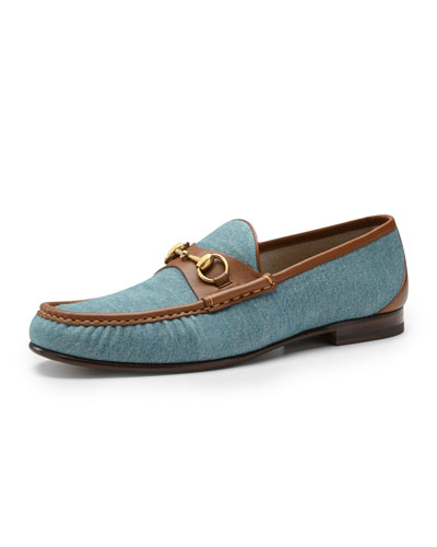 Gucci Roos 1953 Denim Horsebit Loafer, Blue