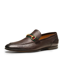 Gucci Elanor Leather Horsebit Loafer, Brown