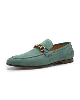 Gucci Elanor Suede Horsebit Loafer, Green