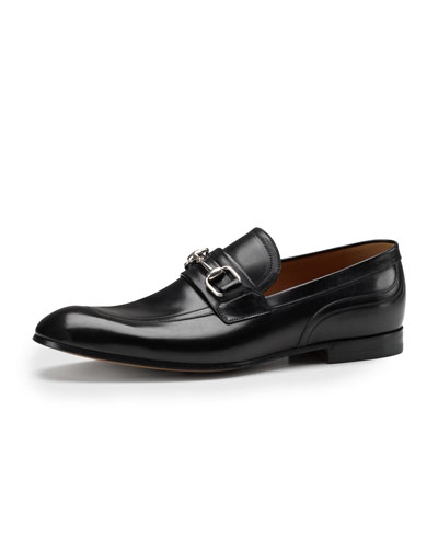 Gucci Square-Horsebit Leather Loafer, Black