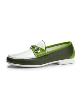 Gucci Multicolored Leather Horsebit Loafer, Green