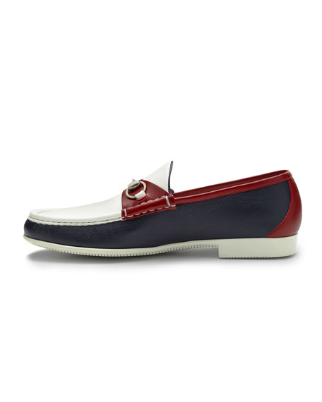 Multicolored Leather Horsebit Loafer, Red/Blue