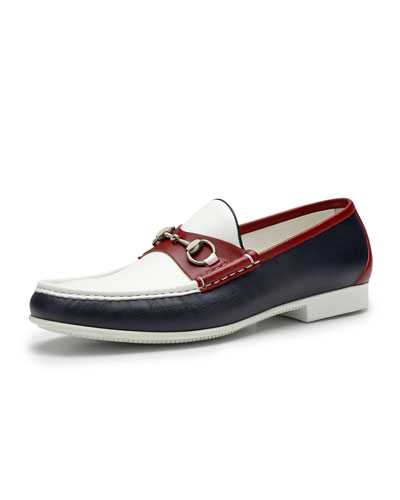 Gucci Multicolored Leather Horsebit Loafer, Red/Blue