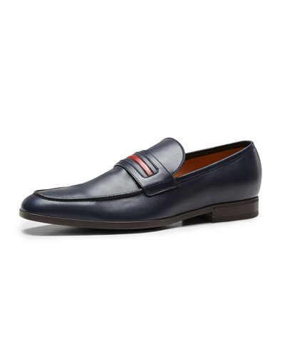 Gucci Leather Signature Web Loafer, Navy
