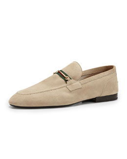 Gucci Suede Thin-Horsebit Loafer, Tan