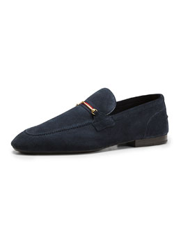 Gucci Suede Thin-Horsebit Loafer, Navy