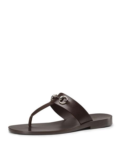 Leather Horsebit Thong Sandal, Brown