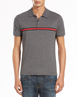 Gucci Jersey Polo with Web Stripe, Medium Gray