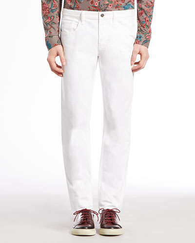 Gucci Skinny Denim Pants, White