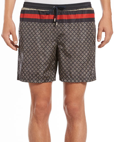 Gucci Diamante Swim Trunks, Navy/Tan