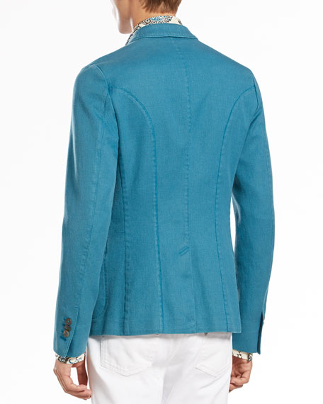 Two-Button Notch-Lapel Jacket, Turquoise