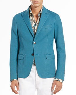 Gucci Two-Button Notch-Lapel Jacket, Turquoise