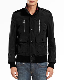Gucci Padded Iconic Bomber Jacket, Black