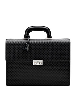 Gucci Men's Diamante Double-Gusset Briefcase, Black