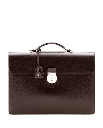 Gucci Pebbled Leather Briefcase, Brown