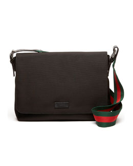 Gucci Nylon Messenger Bag, Black
