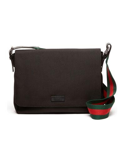 Gucci Nylon Messenger Bag, Black