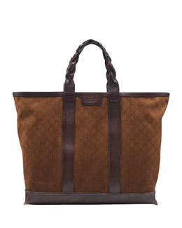 Gucci Men's GG Cotton Tote Bag, Brown