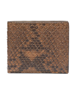 Gucci Python Bi-Fold Wallet, Brown