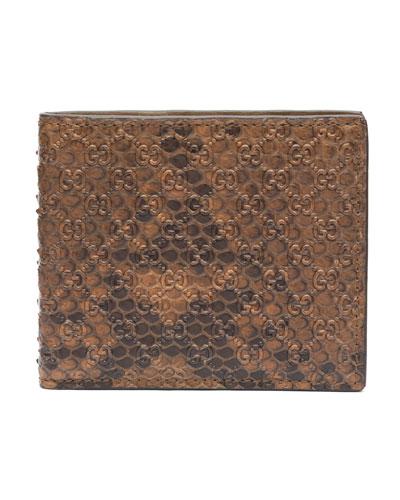 Gucci Python Bi-Fold Wallet, Brown