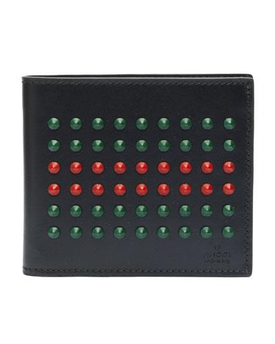 Gucci Studded Leather Bi-Fold Wallet, Black