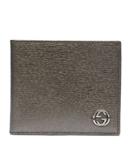 Gucci Metallic Leather Bi-Fold Wallet, Platinum