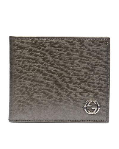 Gucci Metallic Leather Bi-Fold Wallet, Platinum