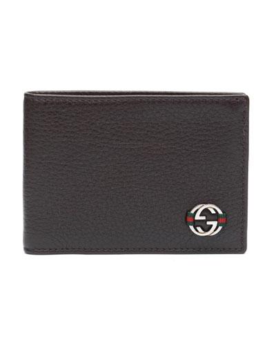 Gucci Ace Leather Mini Bi-Fold Wallet, Brown