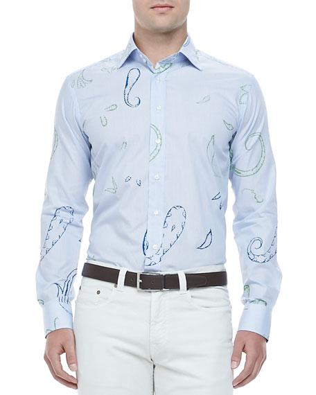 Large Paisley Sport Shirt, Blue