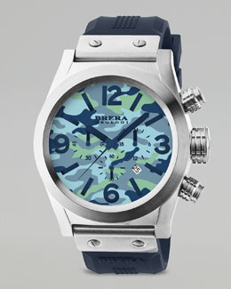 Brera Camouflage Dial Chronograph Watch, Blue