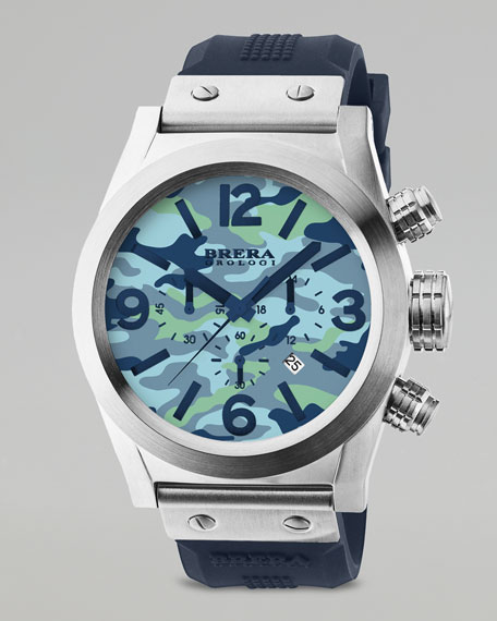 Camouflage Dial Chronograph Watch, Blue