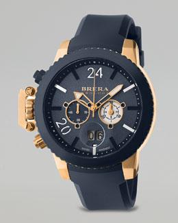 Brera Militare II Chronograph Watch, Rose Gold/Navy