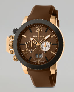 Brera Militare II Chronograph Watch, Rose Gold/Brown