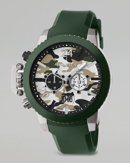 Militare II Chronograph Watch, Green Camo