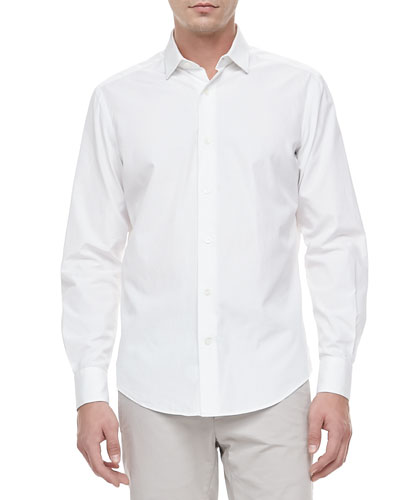 Slim-Cut Woven Dress Shirt, White