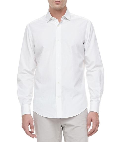 Lanvin Slim-Cut Woven Dress Shirt, White