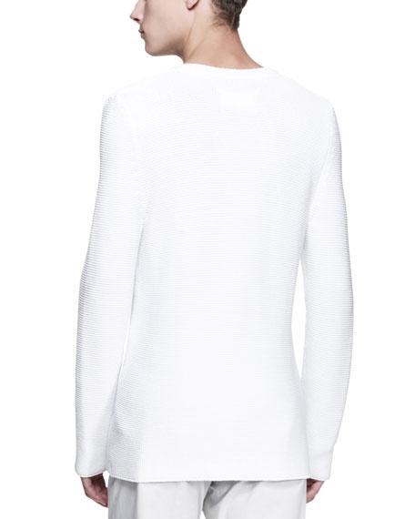 Long-Sleeve V-Neck Sweater, White